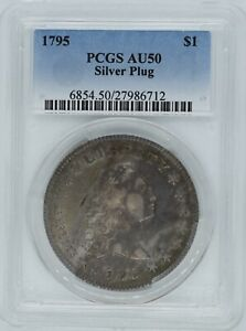 Click now to see the BUY IT NOW Price! 1795 FLOWING HAIR DOLLAR $1 SILVER PLUG AU 50 PCGS WOW