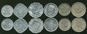 PAKISTAN SET 6 COINS 1 5 10 25 50 PAISA 1 RUPEES XF TO AU SEE SCAN