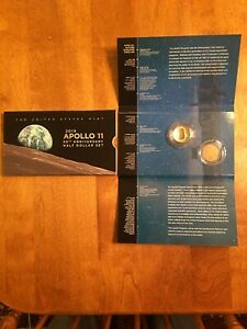 2019 S APOLLO 11 50TH ANNIVERSARY PROOF HALF DOLLAR ERROR PACKAGING  NO KENNEDY