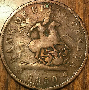1850 UPPER CANADA DRAGONSLAYER ONE PENNY TOKEN