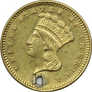 1873 TYPE 3 LIBERTY GOLD DOLLAR $1 ABOUT UNCIRCULATED AU. HOLED