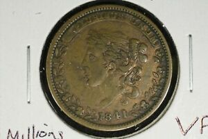 Click now to see the BUY IT NOW Price! 1841 HARD TIMES TOKEN MILLIONS FOR DEFENSE NOT ONE CENT FOR TRIBUTE VF
