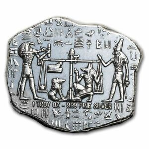 Click now to see the BUY IT NOW Price! 1   1 OZ. 999 FINE SILVER RELIC BAR   OLD WORLD EGYPTIAN GOD ANUBIS JACKAL