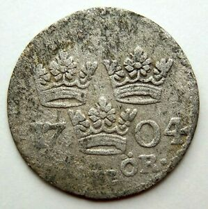 1704 SWEDEN ORE CARL XII HAMMERED SILVER COIN