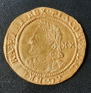 A GOLD JAMES I LAUREL HAMMERED COIN.  2637  HOUSE OF STUART 1623.