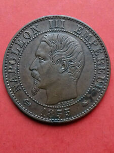 5 CENTIMES NAPOLON III TTE NUE 1855 BB ANCRE