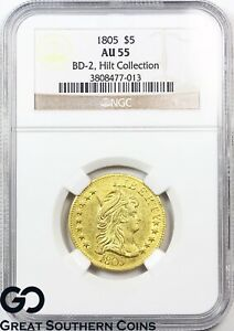 1805 HALF EAGLE $5 GOLD CAPPED BUST TO RIGHT NGC AU 55    BD 2