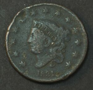 1831 LIBERTY CORONET HEAD LARGE LETTERS LARGE CENT PENNY