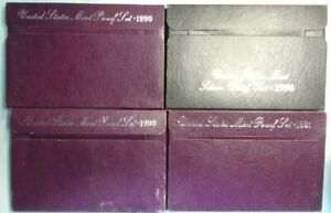 1990   1991   1998    PROOF REPLACEMENT BOXES   >>>NO COINS<<<>>>LOT OF FOUR<<<
