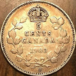 1903H CANADA SILVER 5 CENTS COIN