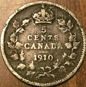 1910 CANADA SILVER 5 CENTS COIN   POINTED LEAVES