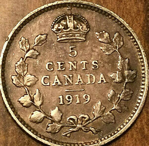 1919 CANADA SILVER 5 CENTS COIN
