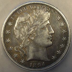1894 O BARBER HALF DOLLAR ICG VF35