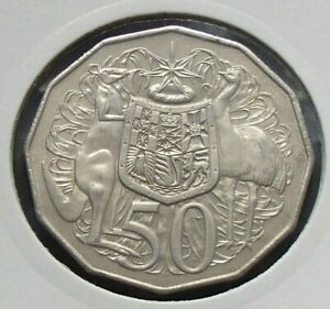 1981 AUSTRALIA UNCIRCULATED FIFTY 50 CENT COIN   ELIZABETH II   COAT OF ARMS