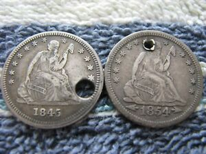 1845 AND 1854 SEATED QUARTERS HOLED