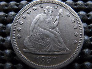 1857 SEATED QUARTER IN XF   CONDITION.