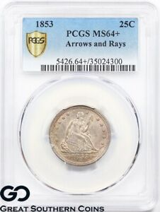 Click now to see the BUY IT NOW Price! 1853 PCGS SEATED LIBERTY QUARTER ARROWS & RAYS MS 64     BETTER DATE PQ