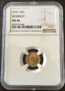 1916 GOLD MS66 MCKINLEY COMMEMERATIVE WITH ORIGINAL MINT CHRISTMAS PACKAGING