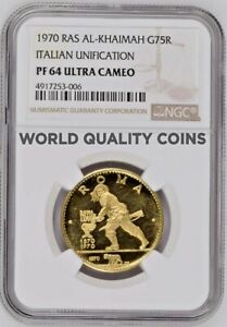 Click now to see the BUY IT NOW Price! RAS AL KHAIMAH UAE 1970 GOLD 75 RIYALS ITALIAN UNIFICATION ROME NGC PF64