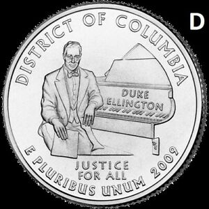 2009 D DISTRICT OF COLUMBIA QUARTER DC & US TERRITORY STATE DENVER  UNC 2ND