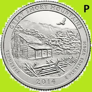 2014 P QUARTER GREAT SMOKY MOUNTAINS NAT PARK  ATB     UNC 2ND