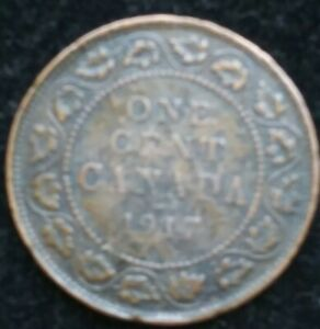 1917 CANADA WWI ERA   ONE CENT   INTERESTING LG COIN