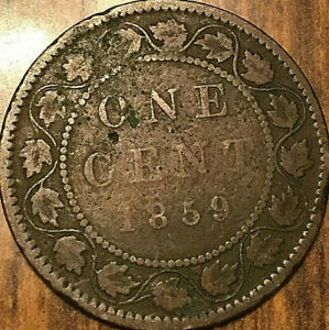 1859 CANADA LARGE CENT PENNY LARGE 1 CENT