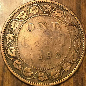 1892 CANADA LARGE CENT PENNY LARGE 1 CENT   OBV4 VARIETY