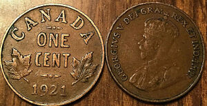 1921 CANADA SMALL 1 CENT COIN PENNY VG TO F BUY 1 OR MORE ITS