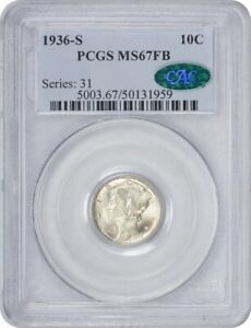 Click now to see the BUY IT NOW Price! 1936 S MERCURY DIME MS67FB PCGS  CAC