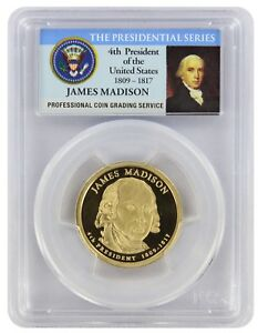 2007 S JAMES MADISON PRESIDENTIAL DOLLAR PR69DCAM PCGS PROOF 69 DEEP CAMEO PL