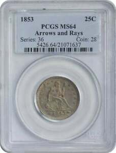 Click now to see the BUY IT NOW Price! 1853 LIBERTY SEATED QUARTER ARROWS AND RAYS MS64 PCGS