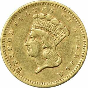 1860 S $1 GOLD TYPE 3 EF UNCERTIFIED