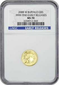 2008 W $5 AMERICAN GOLD BUFFALO BURNISHED MS70 EARLY RELEASES NGC