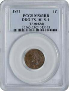 Click now to see the BUY IT NOW Price! 1891 INDIAN CENT DDO FS 101 MS63RB PCGS
