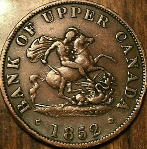 1852 UPPER CANADA DRAGONSLAYER HALF PENNY TOKEN   COINAGE DIE AXIS