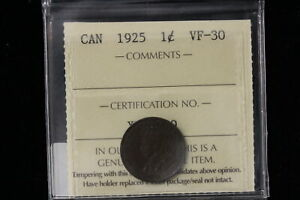 1925 CANADA. ONE CENT. ICCS GRADED VF 30  XLV139 .