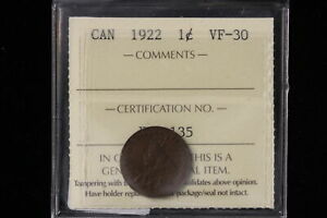1922 CANADA. ONE CENT. ICCS GRADED VF 30  XLV135 .