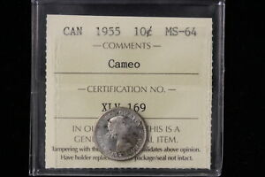 1955 CANADA. 10 CENTS. ICCS GRADED MS 64 CAMEO.  XLV169