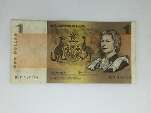 $1  ONE  DOLLAR AUSTRALIAN PAPER BANKNOTE KNIGHT STONE   USED