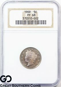 Click now to see the BUY IT NOW Price! 1909 LIBERTY NICKEL V NICKEL PROOF NGC PR 68    STARK CAMEO LOOK PQ