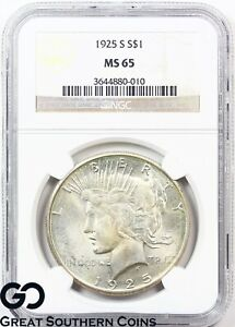 Click now to see the BUY IT NOW Price! 1925 S PEACE DOLLAR NGC MS 65     WHOLESALE BID: $18 000 PG: $26 500