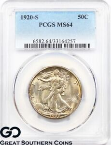 Click now to see the BUY IT NOW Price! 1920 S PCGS WALKING LIBERTY HALF DOLLAR MS 64    BETTER DATE SWIRLING LUSTER