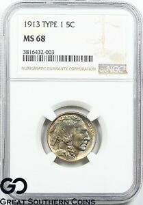 Click now to see the BUY IT NOW Price! 1913 BUFFALO NICKEL TYPE 1 NGC MS 68   GREAT EYE APPEAL STUNNING COIN