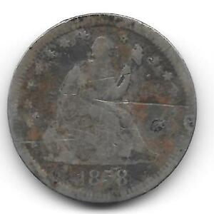 1858 LIBERTY SEATED QUARTER