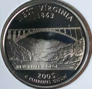2005 S WEST VIRGINIA STATE  SUPER CAMEO PROOF QTR   GEMMY SAN FRAN ISSUE
