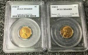 LOT SET 1940 S & 1940 D 1C RD LINCOLN WHEAT CENT  SET PCGS MS66RD