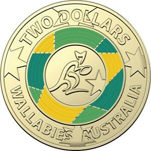 AUSTRALIA 2019 WALLABIES RUGBY $2 TWO DOLLARS ALBR COLOURED UNC COIN FOLDER PACK