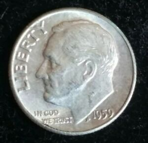 1959 SILVER ROOSEVELT DIME 2 NICE EXAMPLE PHILADELPHIA COLLECTIBLE