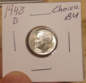1948 D ROOSEVELT DIME CHOICE BU ..COMBINED SHIPPING ONLY $3.50..LOT 4300